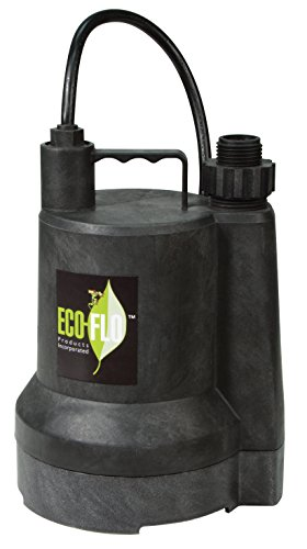 (ECO-FLO Products SUP54 Manual Submersible Utility Pump, 1/6 HP, 1,680 GPH)