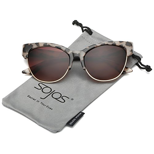 SOJOS Womens Classic High Pointed Half Frame Cat Eye Sunglasses SJ2026 with Grey Demi Frame/Brown Lens
