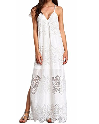 StyleDome Women Strap Dress Sexy Deep V-Neck Plus Size Lace Floral Crochet Evening Gowns White US 14