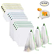 Yomitek Set of 12 Reusable Produce Bags,Washable Mesh Produce Bags with Drawstrings for Grocery Shopping & Storage,Produce Storage Bags ECO Green for Fruits and Veggies,Small, Medium, Large Size
