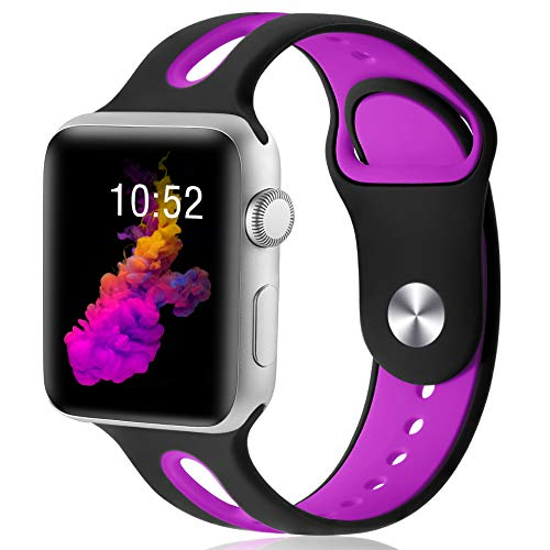 KOLEK Replacement Band Compatible with Apple Watch, 42mm/44mm Silicone Band for iWatch Series 4/3/2/1 for Women/Men, M/L, Black/Hot Pink