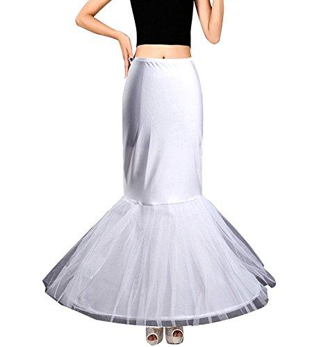 Edith qi Petticoat Enagua 3/4/6 Aros, Largo Miriñaque, Crinolina Vestido de Novia, Aros Ajustable, Un tamaño, Conveniente para el tamaño XS-XXL 1p-blanco