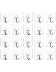 SKY-TOUCH Adhesive Hooks Heavy Duty Wall Hooks 20Pack 8kg (Max) Self Adhesive Hook
