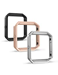 Fitbit Blaze Frame [3 Packs], Simpeak Stainless Steel Replacement Band Frame Case for Fitbit Blaze, Black/Silver/Rose Gold