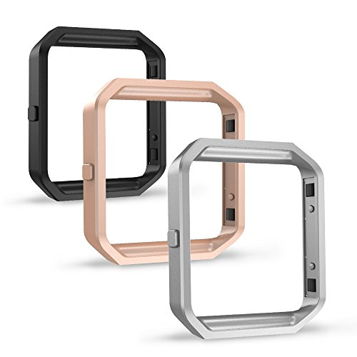Simpeak Frame for Fitbit Blaze (Pack of 3), Replacement Accessory Stainless Steel Frame for Fit bit Blaze Smart Watch, Black, Silver, Rose Gold