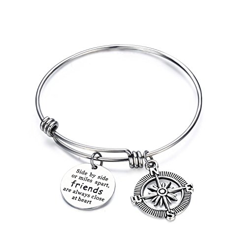 CJ&M Best Friend Bracelets - Side By Side Or Miles Apart Compass Best Friends Bangle Bracelets Adjustable,Long Distance Friendship Gifts,Sister Gift Jewelry