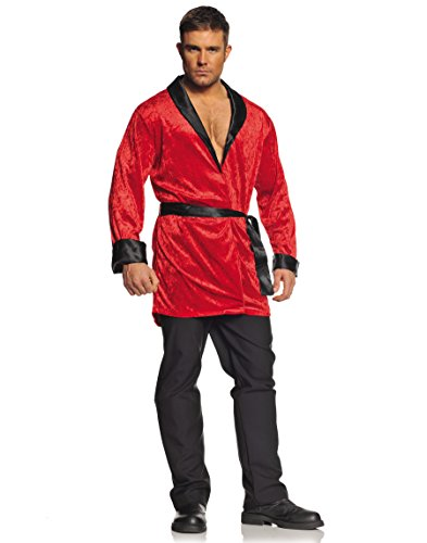 Underwraps Men's Plus-Size Smoking Jacket, Red/Black, (Black And Red Robe)