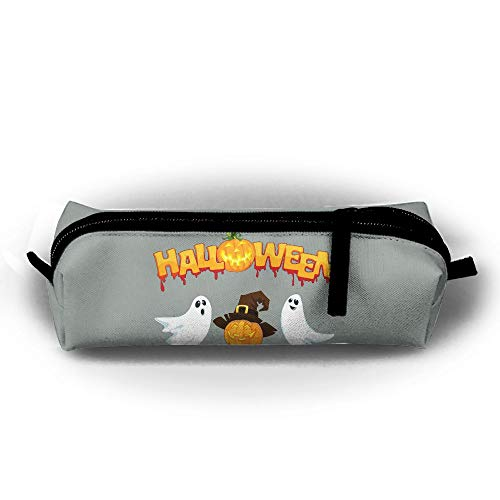 DING Ghost Pumpkin Pencil Case High Capacity Durable Students Pen Bag Waterproof Oxford Zipper Cosmetic Makeup Pouch ()