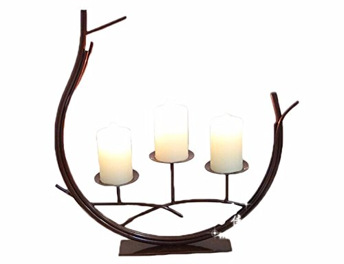 candle holder pillar votive hurricane antlers wooded oval