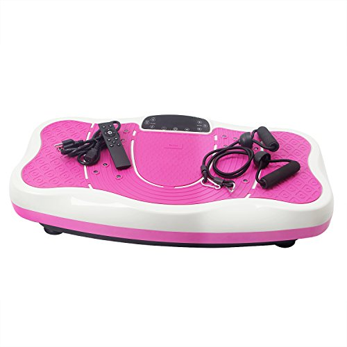 EXEFIT Vibration Platform Machine Power Plate Whole Body Therapy Shake Massager-Remote Control/Bluetooth Music/USB Connection/Adjustable Speed(Max Afford 330lbs) (Pink) For Sale