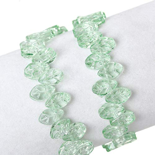 Sexy Sparkles 1 Strand Glass Loose Beds Leaf Shape 7mm,13'' Long, Approx.60pcs/s for Jewelry Making Bracelet Necklace DIY Crafts