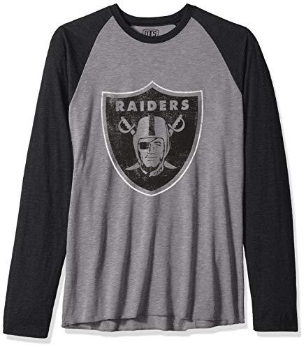 NFL Oakland Raiders Male OTS Triblend Raglan Tee Distressed, Vintage Grey, - Raiders Tees Vintage Oakland