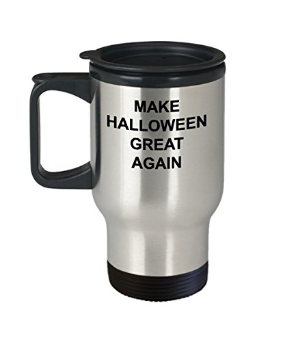 Funny Trump Travel Mug Make Halloween Great Again Coffee Cup Tumbler Joke Gift Pro or Anti Republican and Democrat Supporter Gag Present Patriotic for $<!--$18.99-->