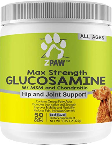 ZPAW Max Strength Glucosamine with MSM Chondroitin and Omega Fatty Acids for Dogs | Supports Healthy Hip and Joints by Relieving from Pain Promoting Lubrication and Improving Mobility (50 Soft Chews)
