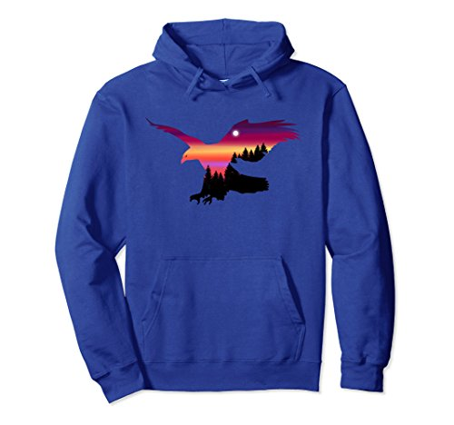 Unisex Beautiful Flying Eagle Surreal Sky Silhouette T-Shirt Hoodie Large Royal Blue (Hoodie Mens Silhouette)