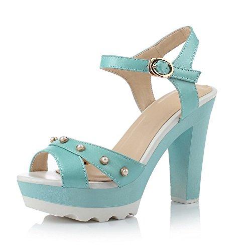 Amoonyfashion Mujer Solid Pu High-heels Peep-toe Hebilla Sandalias Azul