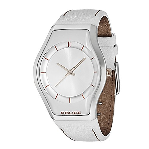 Police Sphere X 12778ms04a 40mm Stainless Steel Case White Leather Glass Women's Watch