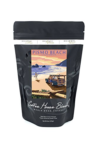 Pismo Beach, California - Woody and Beach (8oz Whole Bean Small Batch Artisan Coffee - Bold & Strong Medium Dark Roast w/ - Pismo Coast