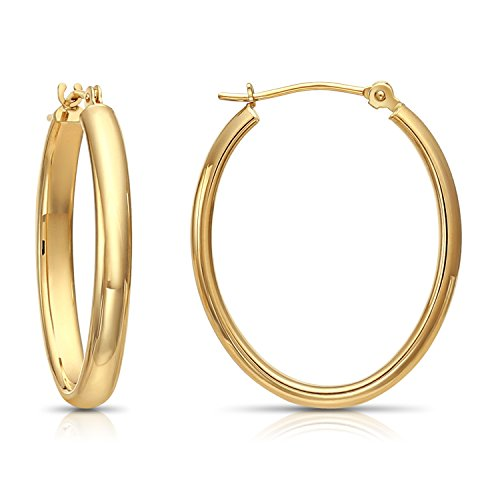 (14k Yellow Gold Oval Hoop Earrings, (1 inch Diameter))