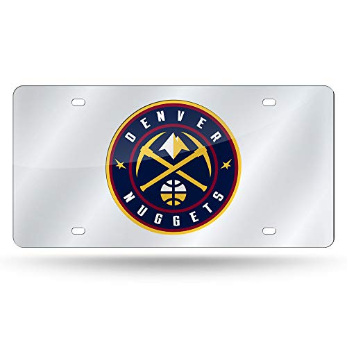 Rico Industries NBA Denver Nuggets Laser Inlaid Metal License Plate Tag, Silver, Silver