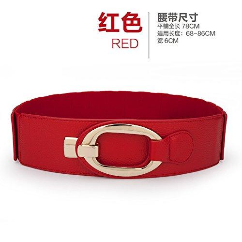 Pelle Larga Rosso Decorate Femminile Selvaggio Downcoat Rosso Di W Cinture Nera Elastica Delle Zhangyong Abiti Cinghia Tratto Vita gRqanxwn