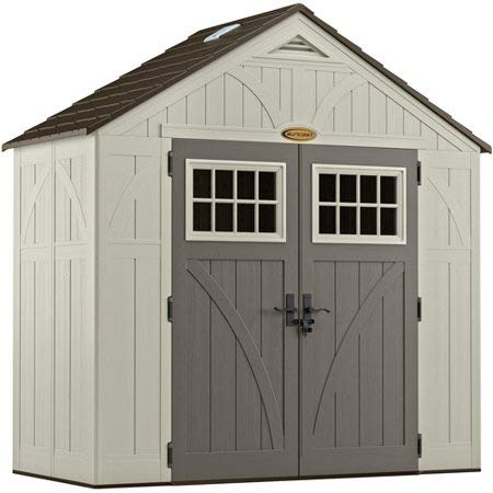 Suncast 4' x 8' Tremont Storage Shed with Windows - Outdoor Storage for Backyard Tools and Accessories - All-Weather Resin Material, Transom Windows and Shingle Style Roof