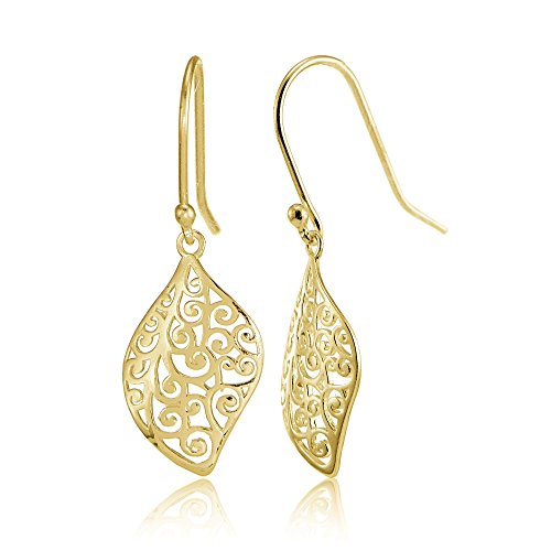 Yellow Gold Flashed Sterling Silver Filigree Scroll Design Leaf Shape Earrings