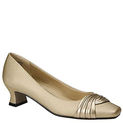 Gold Satin Pump (Easy Street Women's Tidal Dress Pump,Gold Satin,10 W US)