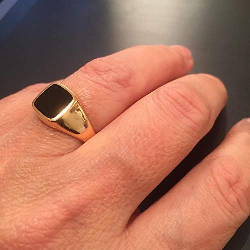 (Gold Onyx ring Signet Black square Ring, Size 8 us)