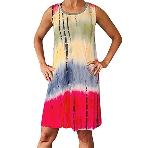 DondPo Women's Dress Summer O-Neck Boho Sleeveless Tie-Dyed Fashion Casual Color Beach Casual T-Shirt Short Mini Dresses Red
