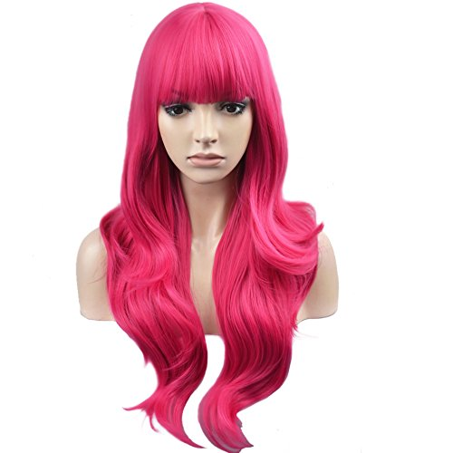 BERON Long Wavy Soft Synthetic Wig with Straight Bangs for Women Girls Wig Cap Included (Hot Pink) -