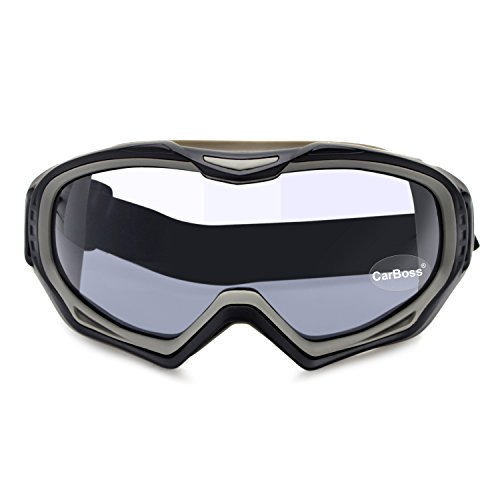 CarBoss Motorcycle Goggles Anti-Fog/UV Eye Protection Fitover Glasses Goggle Military Combat Eyewear Tactical Goggles Outdoor Sunglasses for Motocross Cycling, Skiing (Black Frame Grey - Military Grade Glasses Prescription