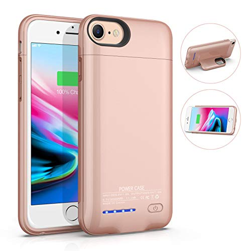 AEDLYK Battery Case for iPhone 6/6S/7/8 3000mAh Rechargeable Charging Case Magnetic Slim Phone Stand External Battery Pack Protective Charger Case for iPhone 6/6s/7/8 (4.7inch) (Rose Gold)