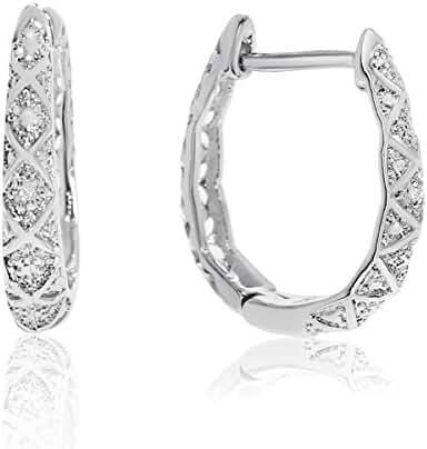 Oval Shape Diamond Hoop Earrings, Silver Tone, 3/4 Inch