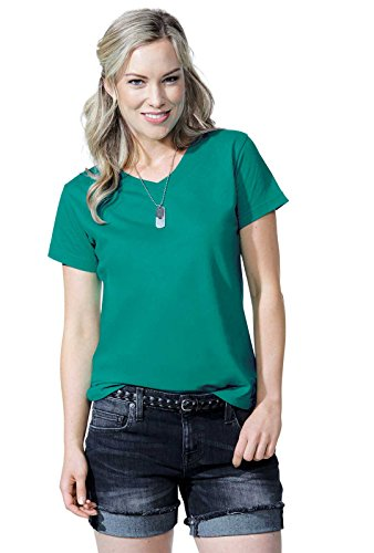 LAT Ladies' 100% Cotton Jersey V-Neck Short Sleeve Tee (Charcoal, Large)