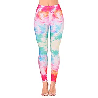 Women Rainbow Tie-dye Printed Sexy Stretch Ankle Running Legging Pants M