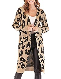 Women Long Sleeve Open Front Leopard Knit Long Cardigan...