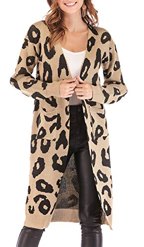 BTFBM Women Long Sleeve Open Front Leopard Knit Long Cardigan Casual Print Knitted Maxi Sweater Coat Outwear with Pockets (Khaki, X-Large)