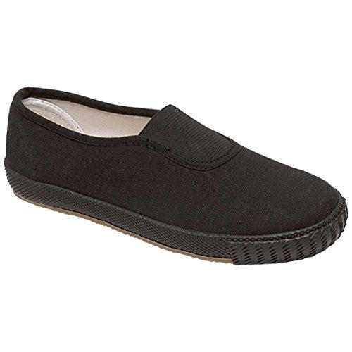 Price comparison product image Boys Childrens Gym Trainers Shoes Unisex Girls Sports Casual Plimsolls Pe Pumps Black Canvas US 2