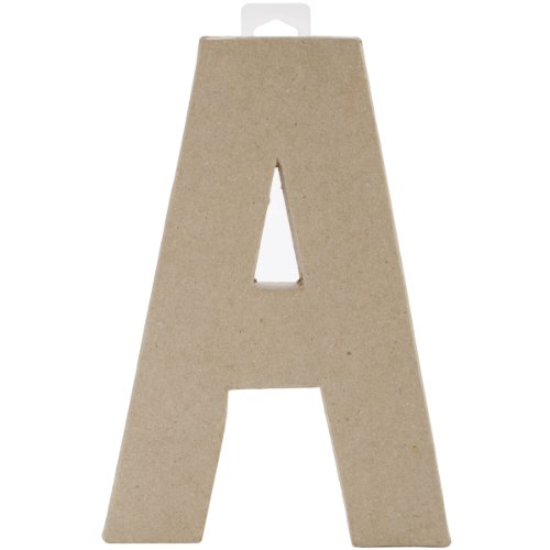 Paper Mache Letter - A - 8 x 5.5 x 1 inches (Cardboard Numbers)