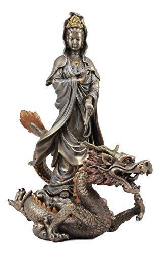 Ebros Large Avalokiteshvara Bodhisattva Kwan Yin Riding On Celestial Chinese Dragon Statue 12.5