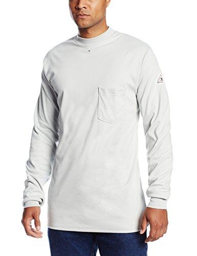 Bulwark Flame Resistant 6.25 oz Cotton Long Sleeve Tagless T-Shirt, Rib-Knit Cuff, Grey, Medium