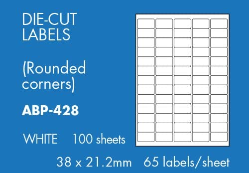 Hovat Multi-Purpose 6500 labels - 100 sheets 38 x 21.2 mm Self adhesive label. 65 labels per sheet