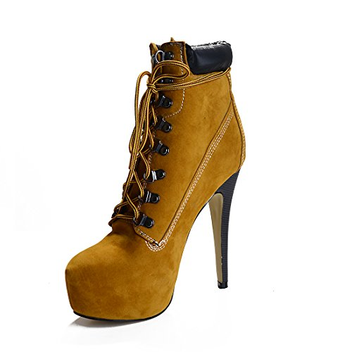 onlymaker Women's Rivet Studded Platform High Heel Pointed Toe Lace Up Ankle Boots
