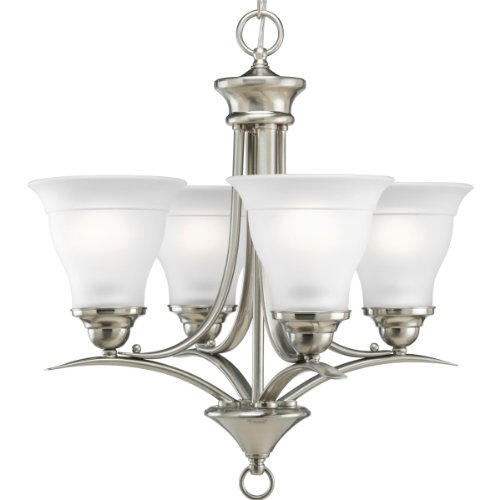 Progress Lighting P4326-09 4-Light Chandelier with Etched Glass, Brushed Nickel