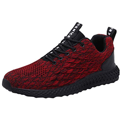 Men's Sneakers Sport Baseball Shoes Fashion Breathable Sneakers Mesh Soft Sole Casual Athletic Lightweight Watermelon Red