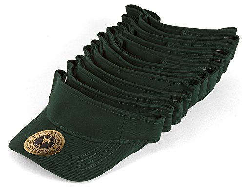 TOP HEADWEAR Blank Adjustable Visors - 12-Pack - Forest Green (Stay Single Or Be In A Relationship)
