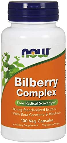 NOW FOODS Bilberry Comp 80Mg, 100 Count