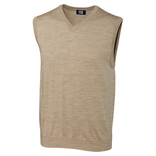 Cutter & Buck Men's Douglas V-Neck Sweater Vest, Sand Heather 3X Big