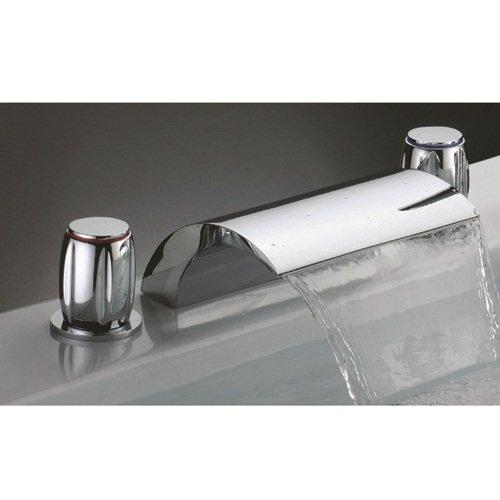 Lightinthebox Deck Mount Contemporary Bathroom Deck Mount Bath Tub Faucet Two Handles Chrome Widespread Waterfall Bathtub Faucet Bath Shower Faucet Lavatory Plumbing Fixtures Bath Shower Faucets